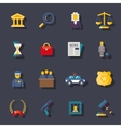 Flat law icons set vector image