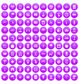 100 taxi icons set purple vector image vector image