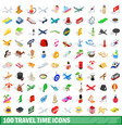 100 travel time icons set isometric 3d style vector image vector image