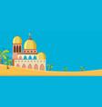 a mosque in desert scene vector image