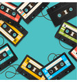 audio cassette tape background card vector image
