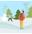 boys making snowman winter season outdoor vector image