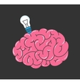 Brain and light bulb vector image vector image
