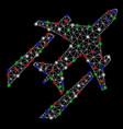 bright mesh network air jet trace with flare spots vector image vector image