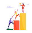 businessman and businesswoman climbing up rising vector image vector image