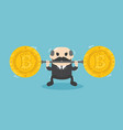 businessman lifts coin very heavy fall bitcoin vector image
