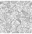 cartoon cute hand drawn mexican food seamless vector image
