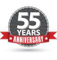 celebrating 55 years anniversary retro label vector image vector image