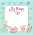 children greeting card in pastel colors vector image