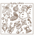 christmas collection symbolic traditional vector image vector image