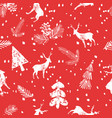 christmas deer spruce seamless pattern vector image