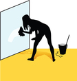 Cleaning woman silhouette vector image vector image