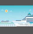 cruise ship anchored at sea port vector image vector image