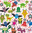 Cute cartoon Monsters seamless pattern white vector image