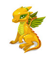 cute catoon yellow fantasy dragon fantastic vector image vector image