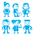 different characters in blue color vector image vector image