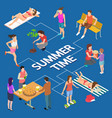 different summer activity people isometric vector image vector image