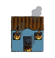 drawing blue house fire bursts windows roof vector image vector image