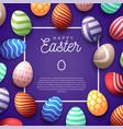 easter egg frame happy cute banner vector image vector image