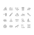 fishing supplies line icons signs set vector image