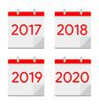 flat design calendar icons 2017 2018 2019 2020 vector image