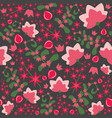 floral seamless pattern with pink vector image