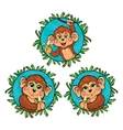 Funny monkey with a banana in his hand set vector image vector image