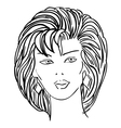 hand-drawn fashion model womans face vector image
