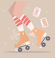 hand drawn with female legs and roller skates vector image