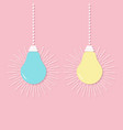 hanging light bulb icon set switch on off lamp vector image vector image