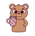 happy valentines day cute bear with coffee cup vector image vector image