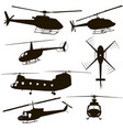 helicopters silhouette set four models vector image