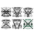 hunting ammo and gun shop icons vector image