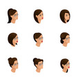 isometric icons of head hairstyles 3d emotions vector image vector image