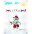 kids colorful hand drawn of grandpa holding flower vector image
