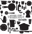 kitchen items silhouette vector image vector image