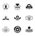 linen logo set simple style vector image