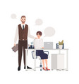 man and women working together office workers or vector image vector image