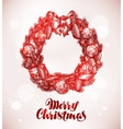 Merry Christmas Wreath and xmas decorations vector image
