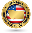 Montana state gold label with state map vector image