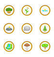 nature icon set cartoon style vector image vector image
