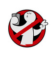 no selfie sign on white background vector image vector image