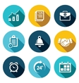 office business flat icons set vector image