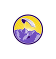 Paragliding Alps Mountains Circle Retro vector image