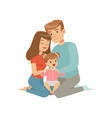 parents embracing their daughter mother and vector image