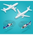 passenger airplane helicopter vector image vector image