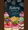 pastry desserts blackboard cake chalk sketches vector image