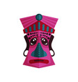 pink zulu mask with traditional ornaments ethnic vector image vector image