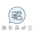 presentation line icon education sign vector image