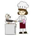 Pretty chef making delicious food vector image vector image
